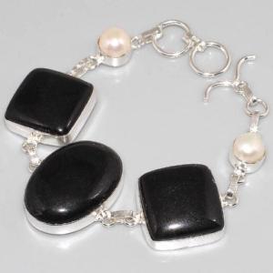 On 0296d bracelet onyx noir perle achat vente bijou argent 925