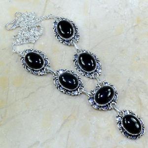 On 0297a collier sautoir onyx noir parure bijou 1900 art deco achat vente