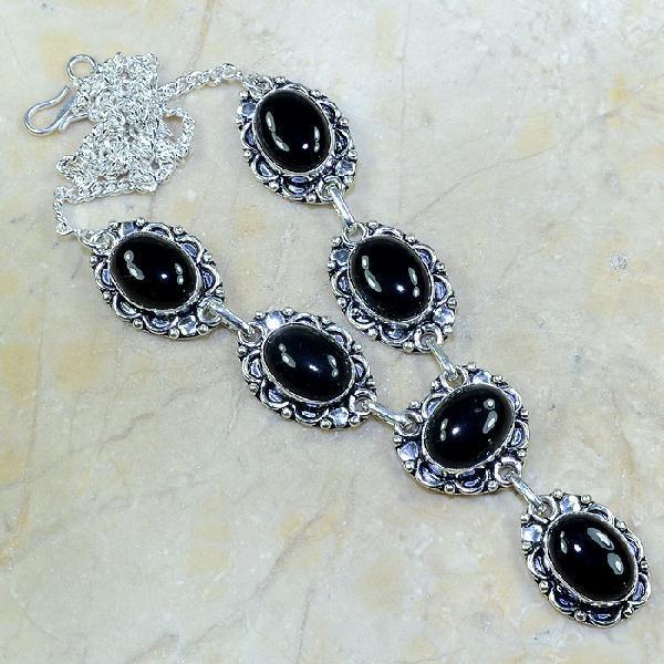 ON-0297 - Joli SAUTOIR, COLLIER, PARURE en ONYX Noir et monture argent 925 - 180 carats - 36 gr