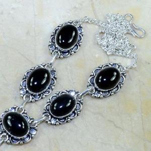 On 0297b collier sautoir onyx noir parure bijou 1900 art deco achat vente