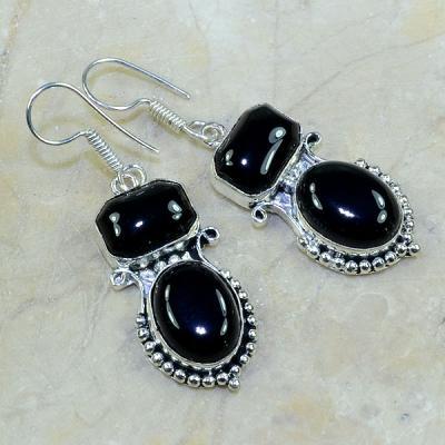 ON-0298 Belles BOUCLES PENDANTS D'OREILLES 60 mm ONYX noir argent 925 - 80 carats - 16 gr