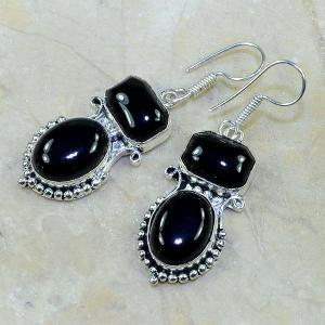 On 0298b boucles pendants oreilles onyx noir parure bijou 1900 achat vente