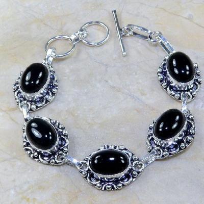 ON-0300 - Joli BRACELET en ONYX Noir et monture argent 925 - 121 carats - 24,2 gr