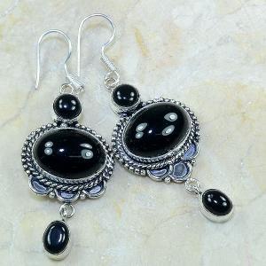 On 0306a boucles pendants oreilles onyx noir parure bijou 1900 achat vente