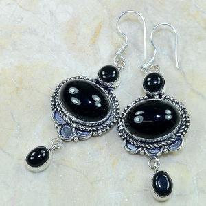 On 0306b boucles pendants oreilles onyx noir parure bijou 1900 achat vente