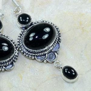 On 0306c boucles pendants oreilles onyx noir parure bijou 1900 achat vente