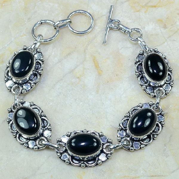 ON-0310 - Joli BRACELET en ONYX Noir et monture argent 925 - 119 carats - 23,8 gr