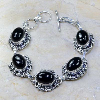 ON-0300 - Joli BRACELET en ONYX Noir et monture argent 925 - 138 carats - 27,6 gr