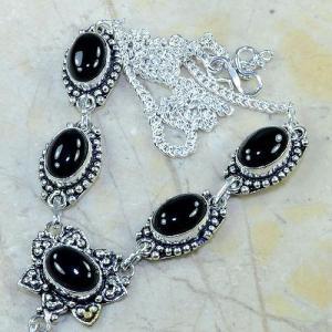 On 0314b collier sautoir onyx noir parure bijou 1900 art deco achat vente