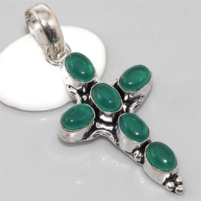 On 0323a croix pendentif crucifix onyx vert achat vente bijou argent 925