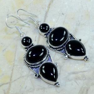 On 0335a boucles pendants oreilles onyx noir parure bijou 1900 achat vente