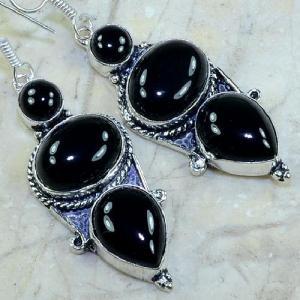 On 0335b boucles pendants oreilles onyx noir parure bijou 1900 achat vente