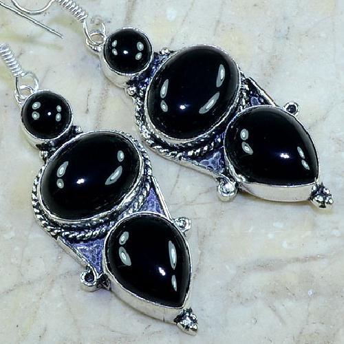 ON-0335 Belles BOUCLES PENDANTS D'OREILLES 60 mm ONYX noir argent 925 - 80 carats - 16 gr