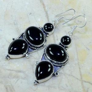 On 0335c boucles pendants oreilles onyx noir parure bijou 1900 achat vente