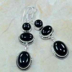 On 0336a boucles pendants oreilles onyx noir parure bijou 1900 achat vente