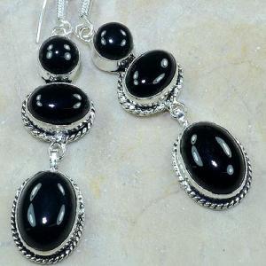 On 0336b boucles pendants oreilles onyx noir parure bijou 1900 achat vente