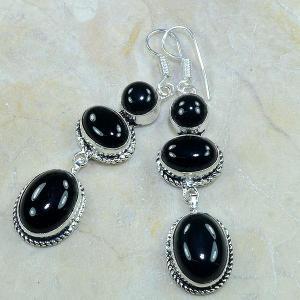 On 0336c boucles pendants oreilles onyx noir parure bijou 1900 achat vente