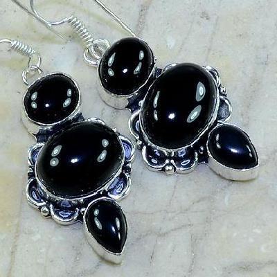ON-0337 Belles BOUCLES PENDANTS D'OREILLES 50 mm ONYX noir argent 925 - 67 carats - 13,4 gr