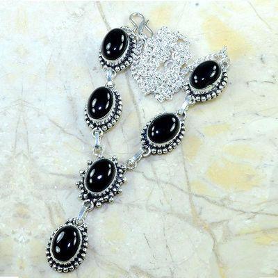 On 0347a collier sautoir onyx noir parure bijou 1900 art deco achat vente