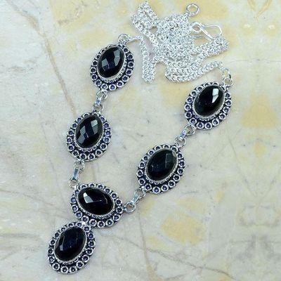 On 0362a collier sautoir onyx noir parure bijou 1900 art deco achat vente