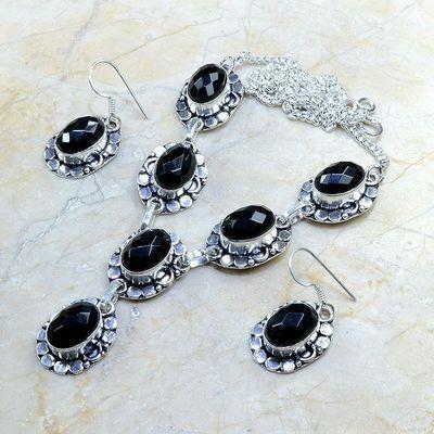 On 0365d parure boucles oreilles collier sautoir onyx noir bijou 1900 art deco achat vente