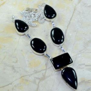 On 0370a collier sautoir onyx noir parure bijou 1900 art deco achat vente