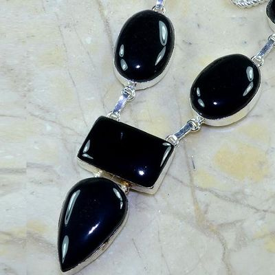 On 0370b collier sautoir onyx noir parure bijou 1900 art deco achat vente