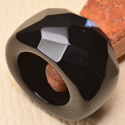 On 0371a bague 57 gemme onyx noir bijou 1900 art deco achat vente