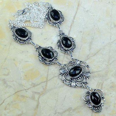 On 0382a collier sautoir onyx noir parure bijou 1900 art deco achat vente