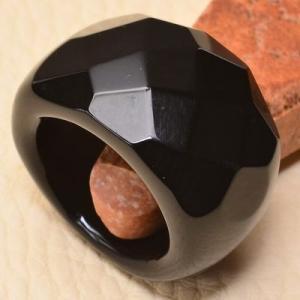 On 0394a bague 58 onyx noir bijou lithotherapie gemme pierre taillee achat vente