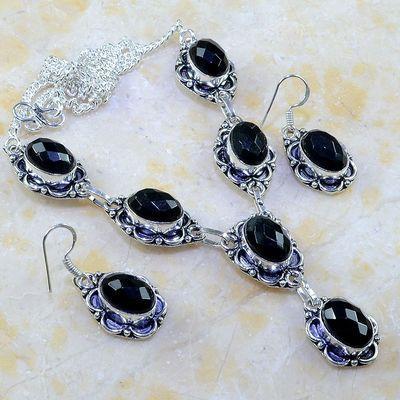 On 0396a parure boucles oreilles collier sautoir onyx noir bijou 1900 art deco achat vente