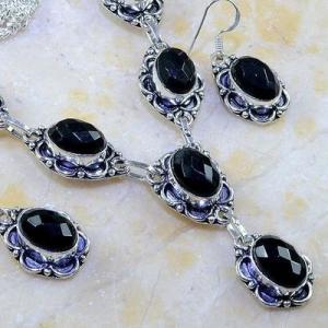 On 0396c parure boucles oreilles collier sautoir onyx noir bijou 1900 art deco achat vente