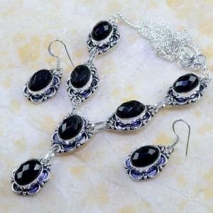 On 0396d parure boucles oreilles collier sautoir onyx noir bijou 1900 art deco achat vente