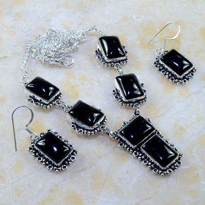 On 0397a parure boucles oreilles collier sautoir onyx noir bijou 1900 art deco achat vente