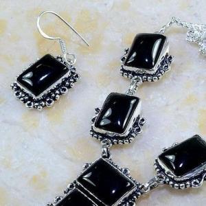 On 0397b parure boucles oreilles collier sautoir onyx noir bijou 1900 art deco achat vente