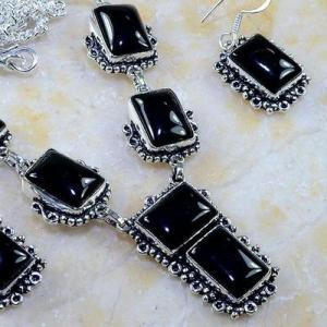 On 0397c parure boucles oreilles collier sautoir onyx noir bijou 1900 art deco achat vente