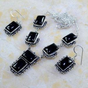 On 0397d parure boucles oreilles collier sautoir onyx noir bijou 1900 art deco achat vente