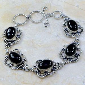 On 0398a bracelet onyx noir achat vente bijou 1900 belle epoque argent 925