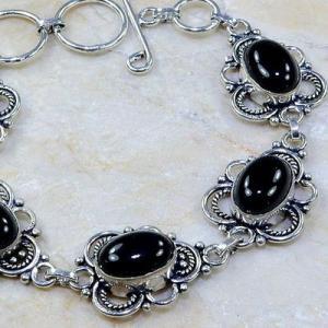 On 0398b bracelet onyx noir achat vente bijou 1900 belle epoque argent 925