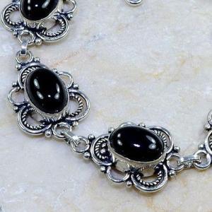 On 0398c bracelet onyx noir achat vente bijou 1900 belle epoque argent 925