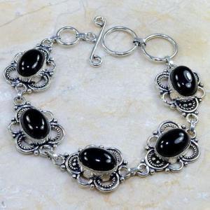 On 0398d bracelet onyx noir achat vente bijou 1900 belle epoque argent 925