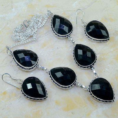 On 0400a parure boucles oreilles collier sautoir onyx noir bijou 1900 art deco achat vente