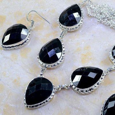 On 0400b parure boucles oreilles collier sautoir onyx noir bijou 1900 art deco achat vente