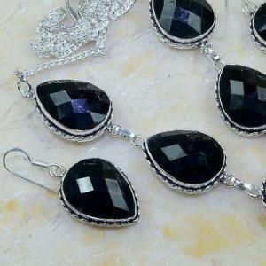 On 0400c parure boucles oreilles collier sautoir onyx noir bijou 1900 art deco achat vente