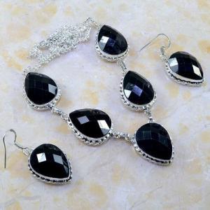 On 0400d parure boucles oreilles collier sautoir onyx noir bijou 1900 art deco achat vente