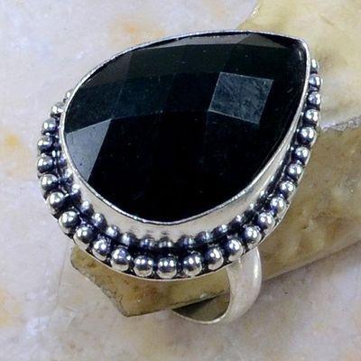 On 0404a bague 60 onyx noir bijou lithotherapie gemme pierre taillee achat vente