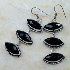 On 0406a boucles pendants oreilles onyx noir parure bijou 1900 achat vente