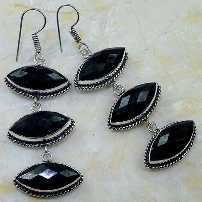 On 0406b boucles pendants oreilles onyx noir parure bijou 1900 achat vente