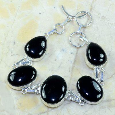 On 0412a bracelet onyx noir achat vente bijou 1900 belle epoque argent 925