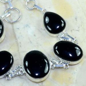 On 0412c bracelet onyx noir achat vente bijou 1900 belle epoque argent 925